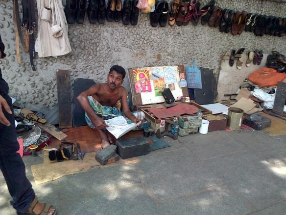 Local cobbler awaiting his next customer