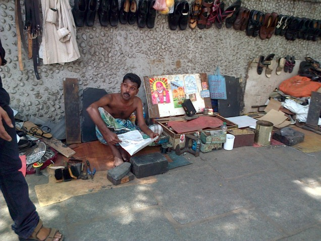 Local cobbler awaiting his next customer